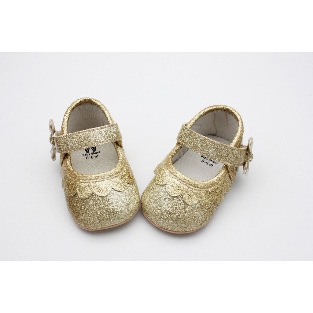 Adorable Shimmery Golden Shoe with Bow Strap