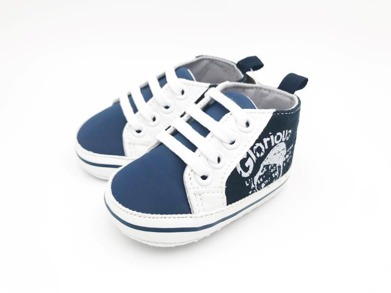 Navy Blue and White Baby Shoes - 4