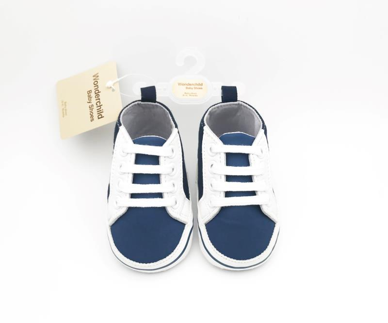 Navy Blue and White Baby Shoes - 2
