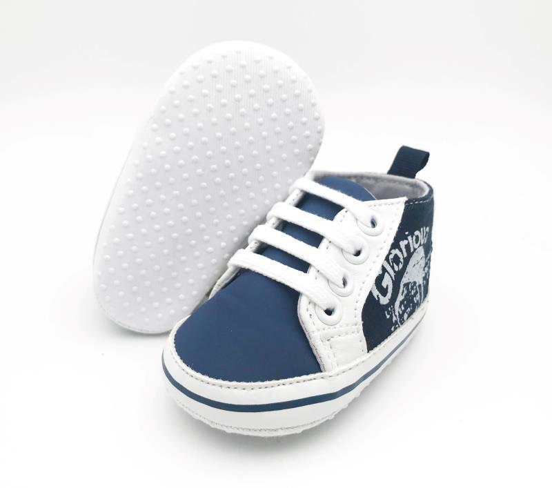 Navy Blue and White Baby Shoes - 3