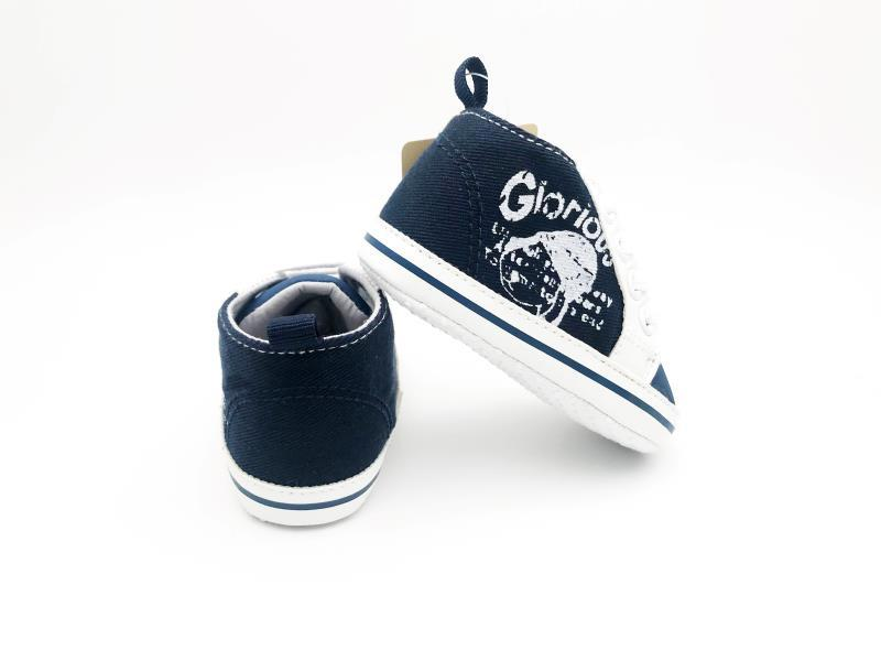 Navy Blue and White Baby Shoes - 1