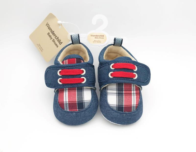 Check-Style Red and Blue Shoes with Straps for Baby's Little Feet