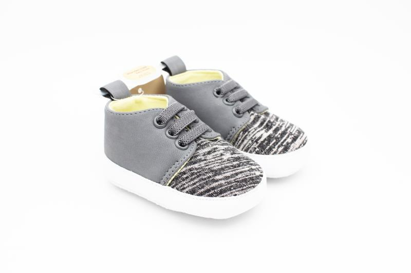 Groovy Stripped Grey, White and Yellow Shoes for Little One's Tiny Feet and Steps