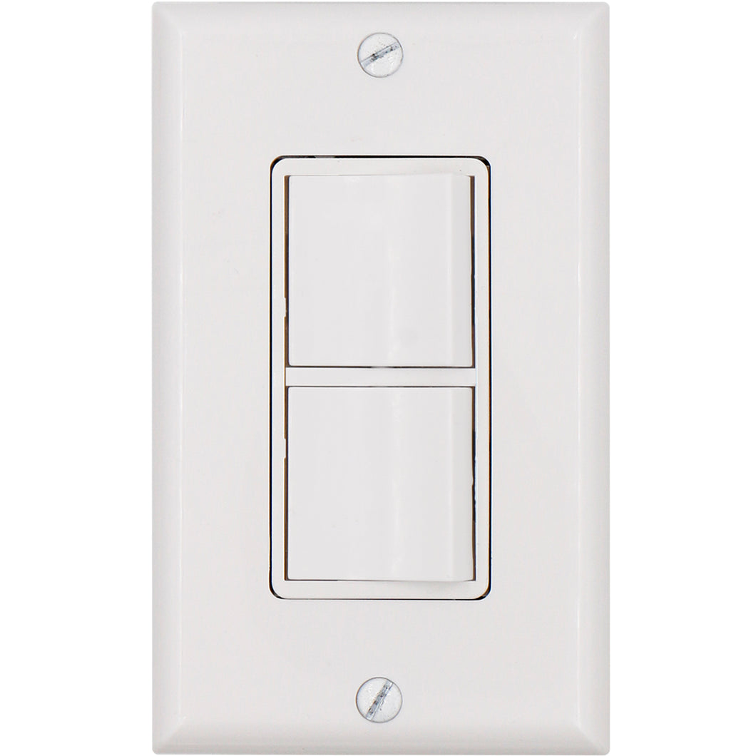 Duplex Rocker switch 15 Amp, 120 Volt, Single-Pole AC Combination Switch, Commercial Grade, Grounding, White with Wall Cover