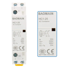 Load image into Gallery viewer, Universal AC Contactor HC1-25 110V-120VAC 25A Normally Open 2 Pole 50/60Hz Circuit Control 35mm DIN Rail