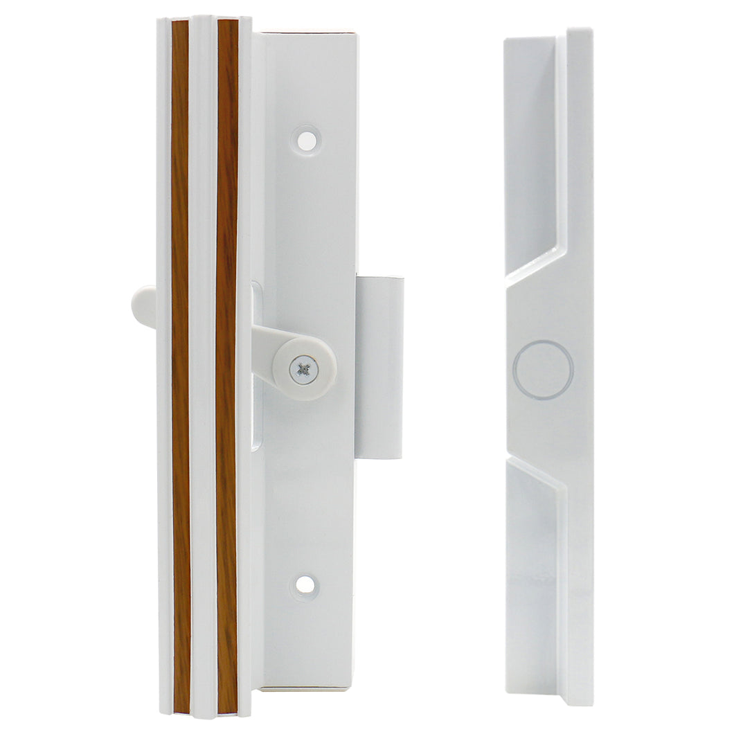 Patio Door Handle Set C-1111 Extruded Aluminum 7-3/8 inch X 1-1/2 inch Removable Knock-Out Slug White