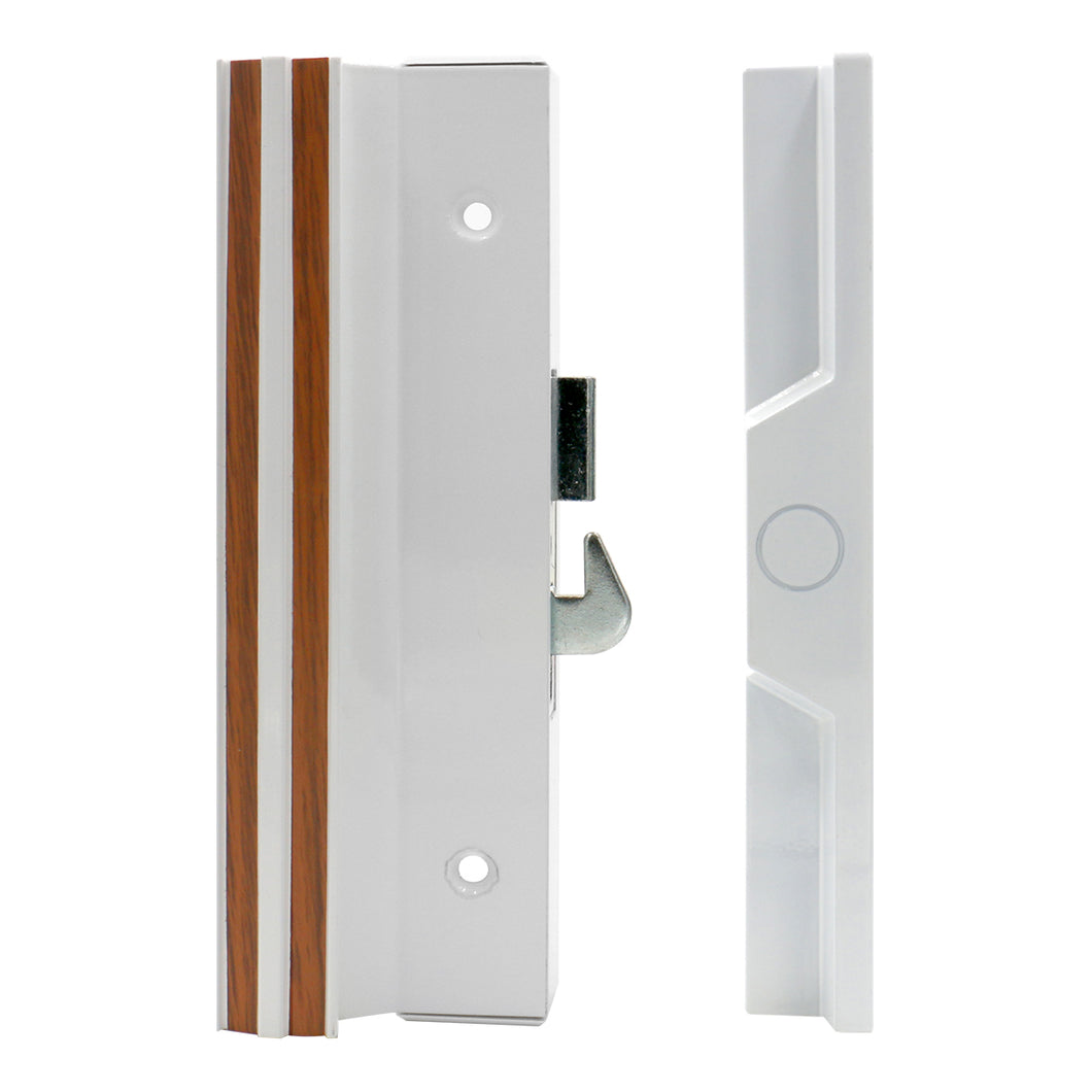 Sliding Patio Door Handle Set C-1116 with Clamp Type Latch, Extruded Aluminum, White