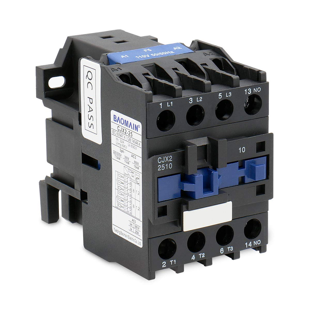 25A AC Contactor Normally Open(NO) CJX2-2510 110V Coil 50/60Hz 35 DIN Rail 3P 3 Pole