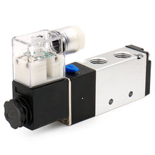 "Load image into Gallery viewer, Pneumatic Solenoid Valve 4V210-08 12V/24V/110V/220V 2 Position 5 Way PT1/4"" Internally Piloted Acting Single Type Pneumatic Air Electrical Control"