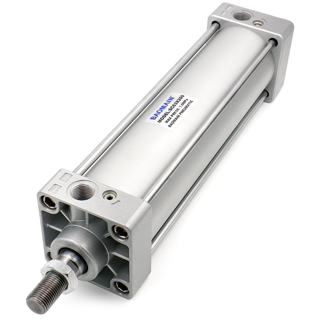 Pneumatic Air Cylinder SC 63 Series PT 3/8, Bore: 2 1/2 inch, Screwed Piston Rod Dual Action