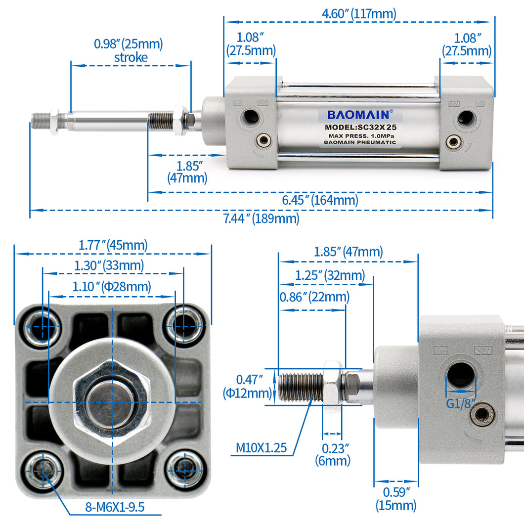 Baomain Pneumatic Air Cylinder SC 32 PT 1/8, Bore: 1 1/4 inch(32mm), Screwed Piston Rod Dual Action 1 Mpa