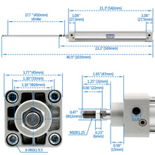 Load image into Gallery viewer, Baomain Pneumatic Air Cylinder SC 32 PT 1/8, Bore: 1 1/4 inch(32mm), Screwed Piston Rod Dual Action 1 Mpa