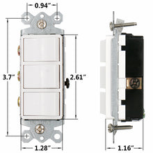 Load image into Gallery viewer, Triple Three-Function Rocker Switch Commercial Grade 15 Amp 120 Volt UL&CUL White