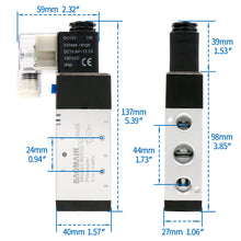 "Load image into Gallery viewer, Pneumatic Solenoid Valve 4V310-10 12V/24V/110V/220V PT 3/8"" 2 Position 5 Way Single Coil Pilot-Operated Electric Control with 3 Fitting and 2 Muffler"