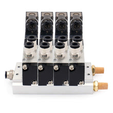 "Load image into Gallery viewer, 4 Space Pneumatic 1/8""PT Solenoid Valve 4V110-06 12V/24V/110V/220V Single Coil Pilot-Operated Electric 2 Position 5 Way Connection Type with Base Muffler"
