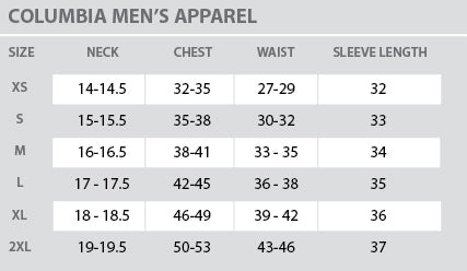 Size Chart - Columbia - Mens - All