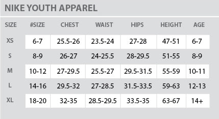 Size Chart - Nike - Youth - All