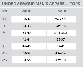 Size Chart - Under Armour - Mens - Tops