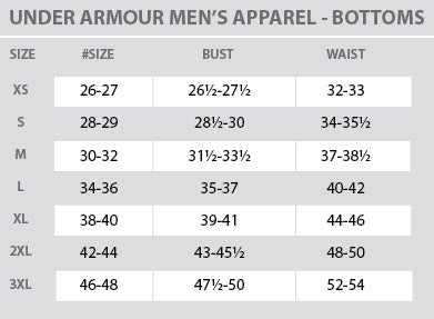 Size Chart - Under Armour - Mens - Bottoms