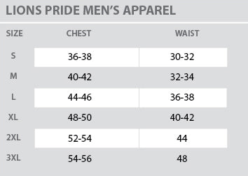 Size Chart - Lions Pride - Mens - All