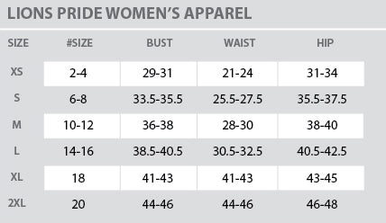 Size Chart - Lions Pride - Women - All