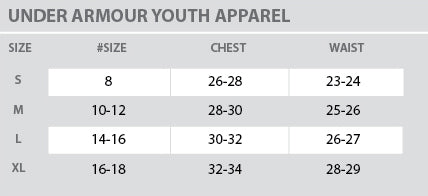 Size Chart - Under Armour - Youth - All