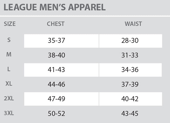 Size Chart - League - Mens - All