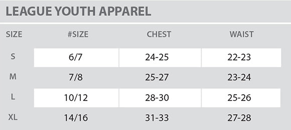 Size Chart - League - Youth - All