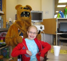 The Nittany Lion visiting Hershey Children's Hospital. Photo courtesy of the Hershey Children's Hospital Facebook page.