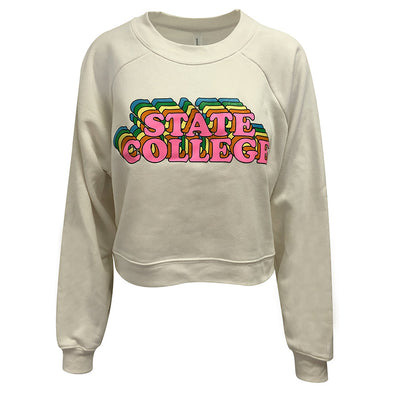 Ladies State College Cropped Crew Sweatshirt