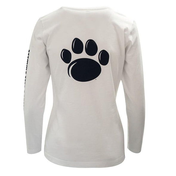 Ladies Long Sleeve Paw Back Penn State T-Shirt - White