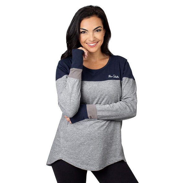 University Girl Colorblock Long Sleeve Top - Gray