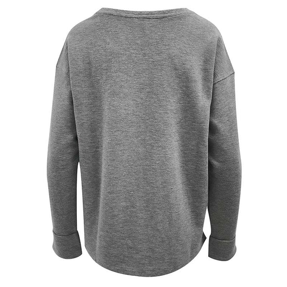 University Girl Ribbed Pullover Crew - Gray