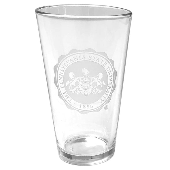 Pint Glass Etched Penn State Seal