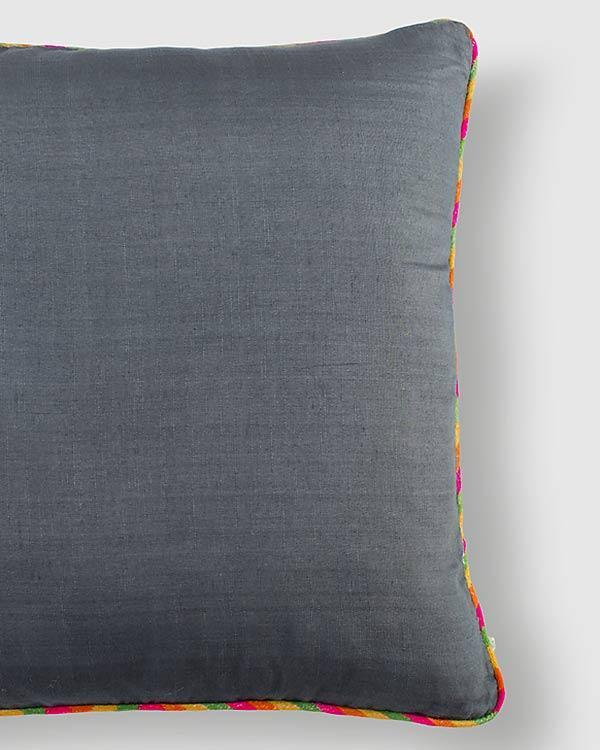 Tussar Cushion - Charcoal