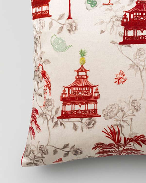 Chinoiserie Cushion - Red
