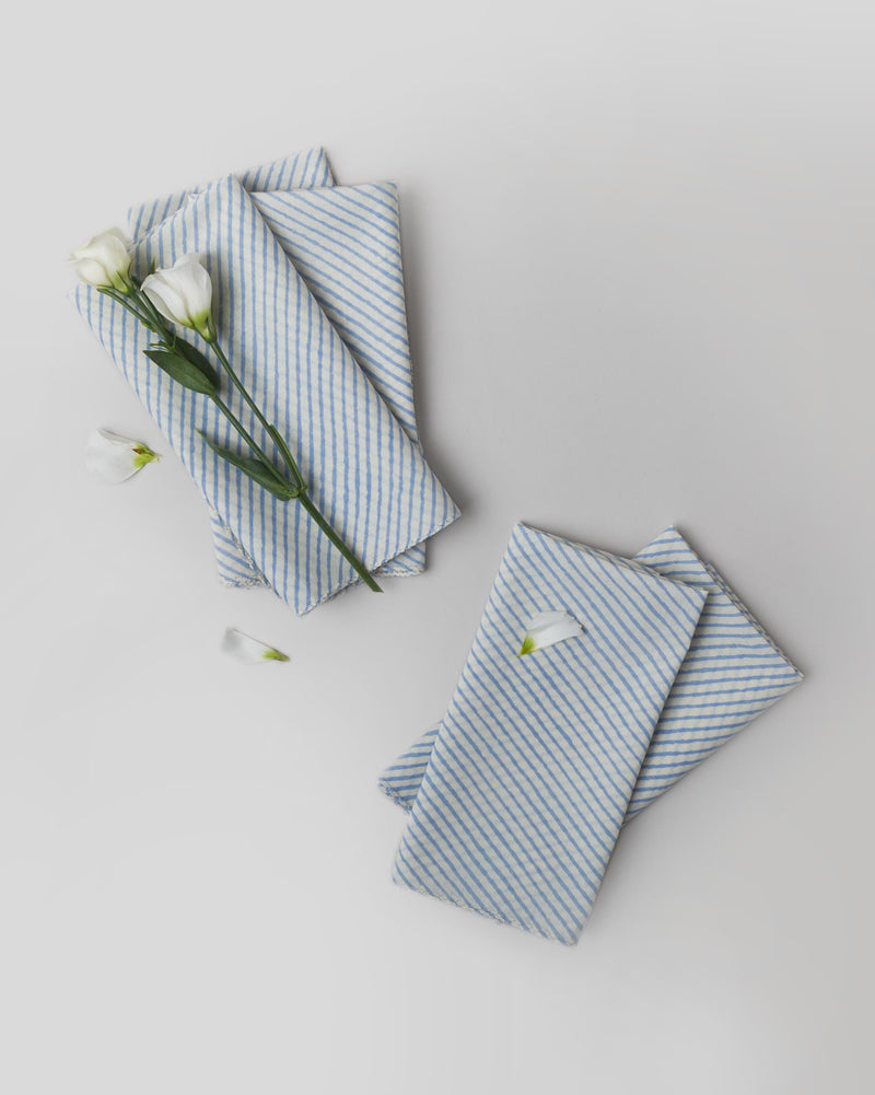 Aozora Stripe Dinner Napkins (Set of 6) - Light Blue