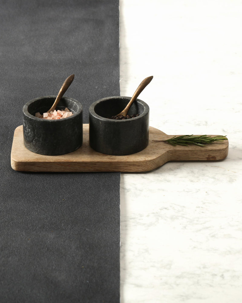 Slate Pinch Pot Set with Tray & Spoons