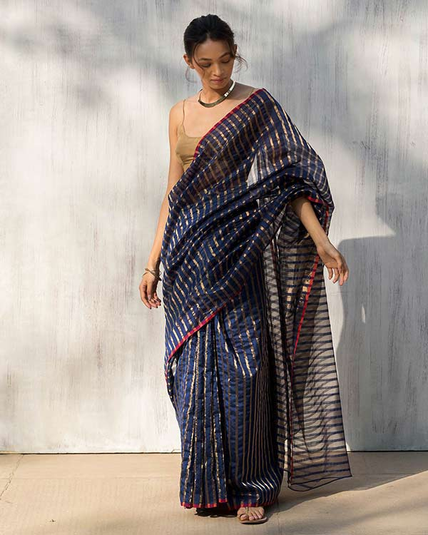 Zari Stripe Sari - Blue