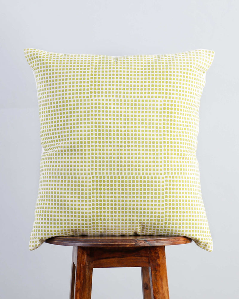 Verandah Checkered Block Cushion - Lime