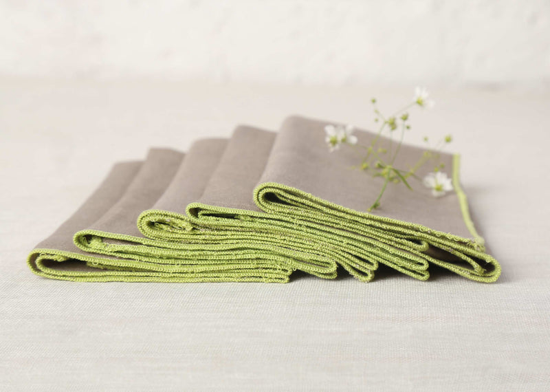 Verandah Dinner Napkins (Set of 6) - Grey & Lime