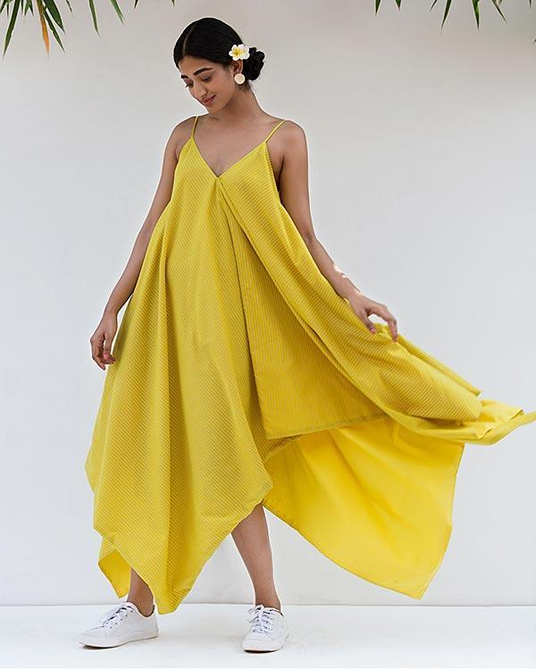 Handkerchief Reversible Dress - Yellow