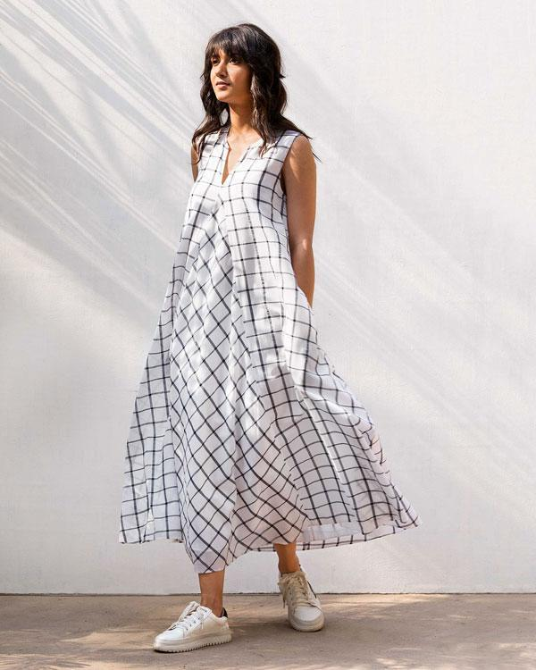 Trapeze Check Dress