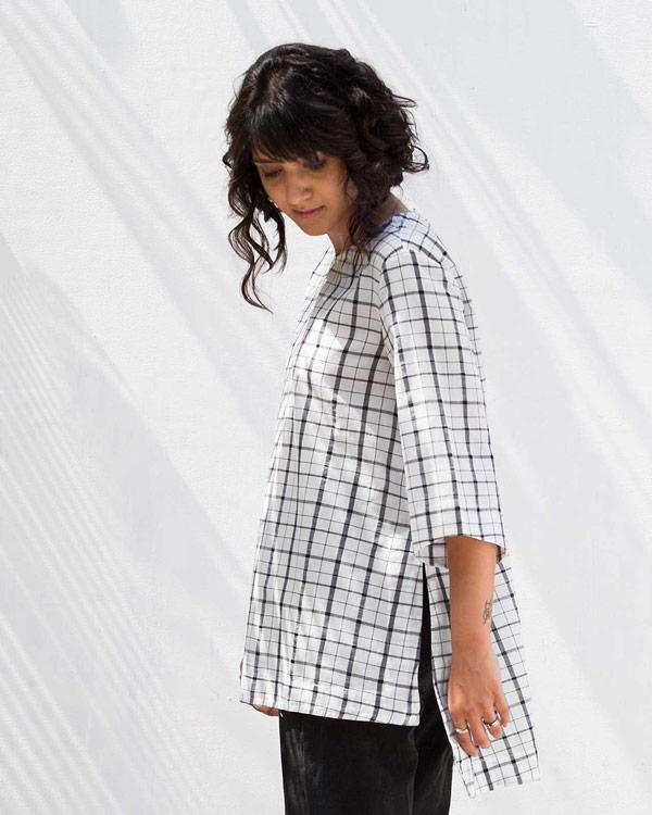 High Slit Check Top
