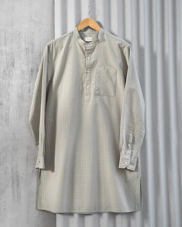 Kazim Check Kurta - Grey