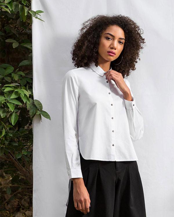 High-Low Placket Top - White