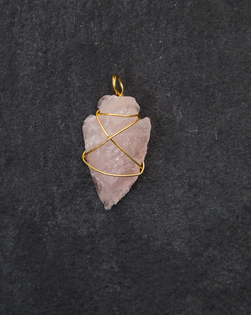 Arrowhead Rose Quartz Pendant - Medium