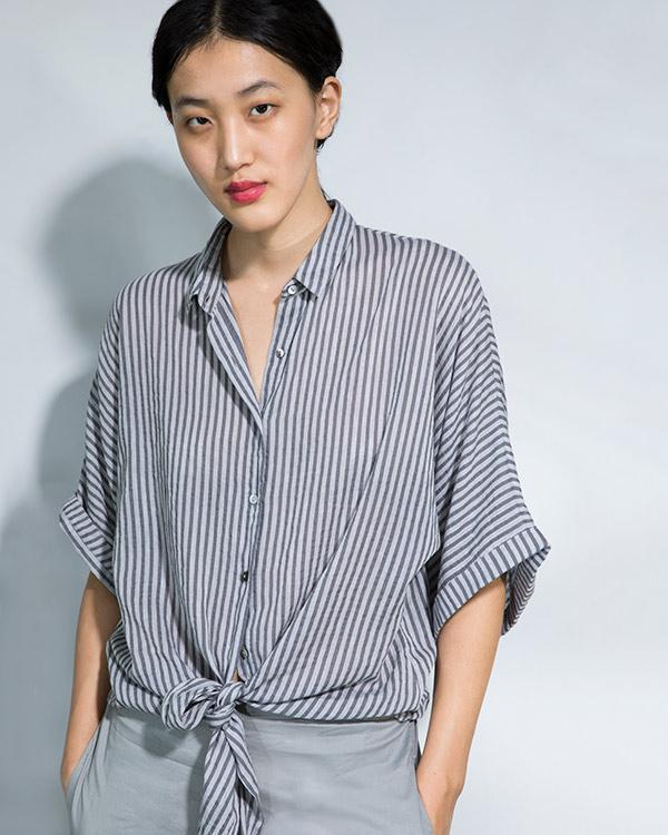 Stripe Knot Top - Grey