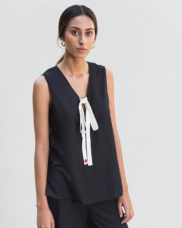 Twill Tie Top - Black
