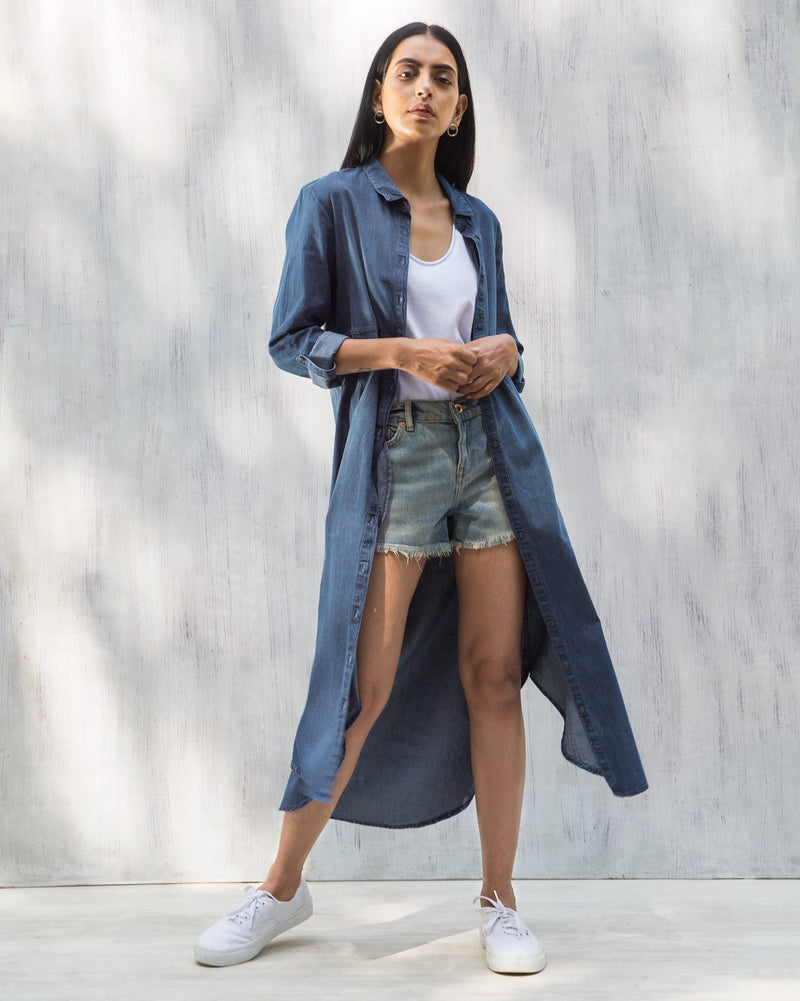 Pristine Long Shirt Dress - Blue